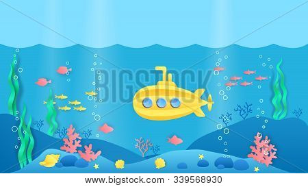 Paper Cut Submarine. Underwater Ocean Landscape With Fish, Seaweeds And Coral Reef In Cartoon Paper