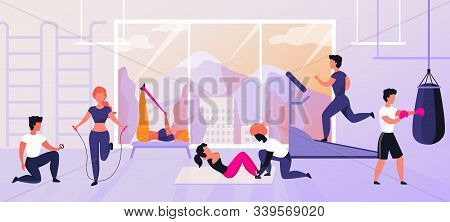 Exercises At Gym. Cartoon Characters Doing Sport Activities And Training, Workout And Fitness Concep