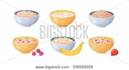 Oat Bowls. Cartoon Porridge With Strawberries And Bananas, Boiled Cereals And Healthy Food. Vector F