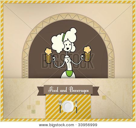 Waitress Serving Beer | Food and Beverages Series | Layered Eps10 Vector Graphic