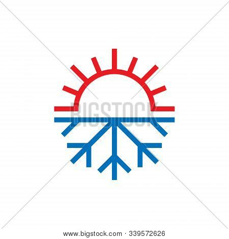 Snowflake And Sun Icon In Flat Style. Climate Control Vector Illustration On White Isolated Backgrou