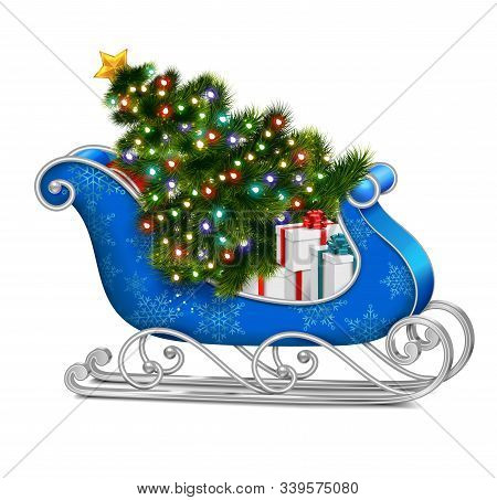 Santa Sleigh With Christmas Tree Realistic Composition With Isolated Image Of Blue Sleigh With Gift