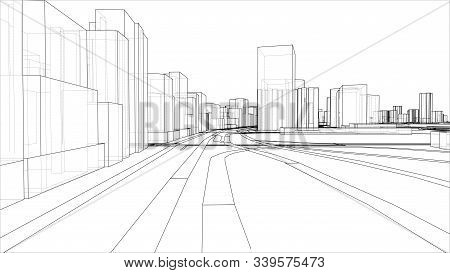 A Schematic Drawing Or Sketch Of A 3d City With Buildings And Roads. Outline Style. 3d Illustration