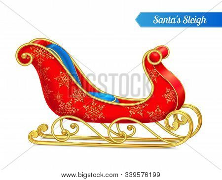 Santa Sleigh Realistic Composition With Image Of Decorated Sled Isolated On Blank Background With Ed