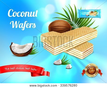 Wafer Realistic Advertisement Background With Leaves And Ripe Fruit With Waffers And Editable Text W