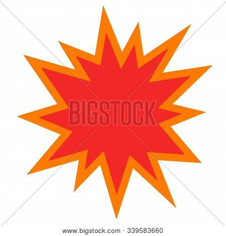 Explosion Or Bomb Blast Vector Icon Flat Cartoon Design, Comic Empty Burst Or Blank Flash Isolated O