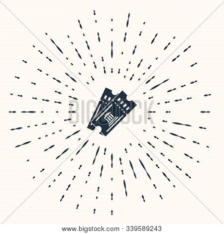 Grey Museum Ticket Icon Isolated On Beige Background. History Museum Ticket Coupon Event Admit Exhib