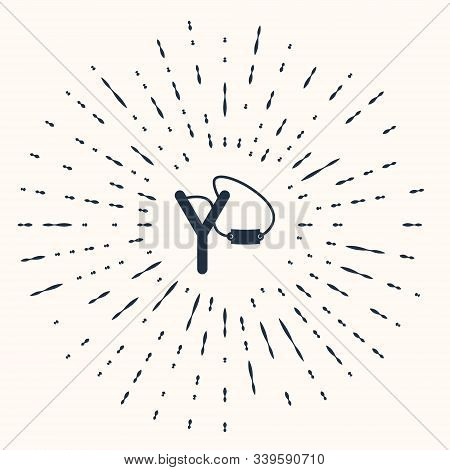 Grey Slingshot Icon Isolated On Beige Background. Abstract Circle Random Dots. Vector Illustration