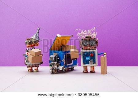 Funny Robotic Toys With Craft Parcel Boxes. Autonomous Delivery Truck Robot, Local Transportation Ro