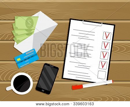 Planning Payroll, Work Place With Banknotes And To Do List. Vector Paycheck And Profit, Payday Top V