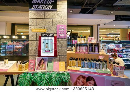 SINGAPORE - APRIL 03, 2019: cosmetics products on display at Watsons store in Singapore. Watsons is the largest health care and beauty care chain store in Asia.