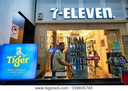 SINGAPORE - CIRCA APRIL, 2019: exterior of 7-Eleven convenience store in Singapore. A convenience store is a small store that stocks a range of everyday items.