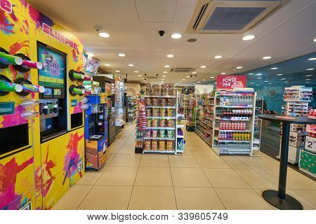 SINGAPORE - CIRCA APRIL, 2019: interior shot of 7-Eleven convenience store in Singapore. A convenience store is a small store that stocks a range of everyday items.