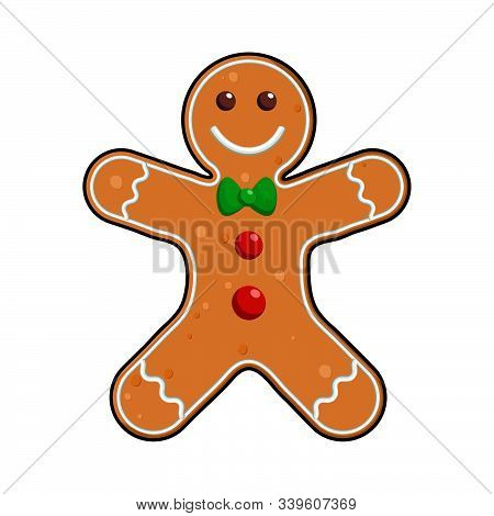 Gingerbread Man Holiday Cookie In Shape Of Man, Decorated Colored Icing , Vector Illustration For Ne