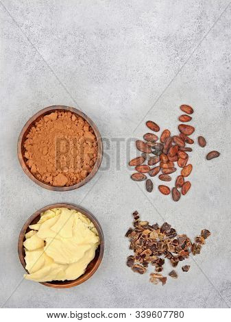 Cocoa Butter, Cocoa Powder, Cocoa Beans And Carob On Gray Stone Background. Top View With Copy Space