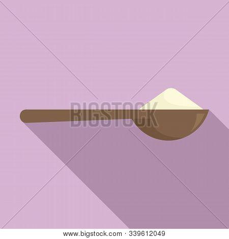 Flour Spoon Icon. Flat Illustration Of Flour Spoon Vector Icon For Web Design