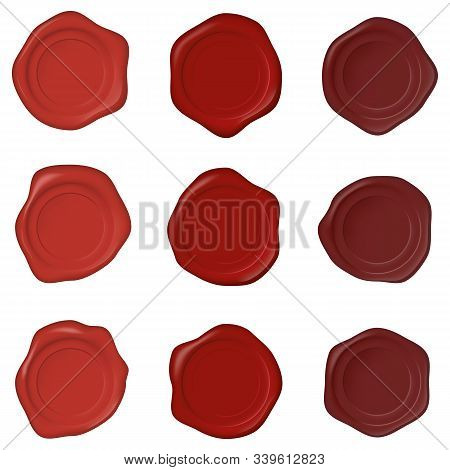 Set Of Realistic Wax Seal Stamps On A White Background. Realistic Blank Wax Seals Of Different Shape