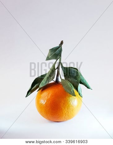 Tangerine On White Background. Tangerine Or Clementine With Green Leaves Isolated On White Backgroun