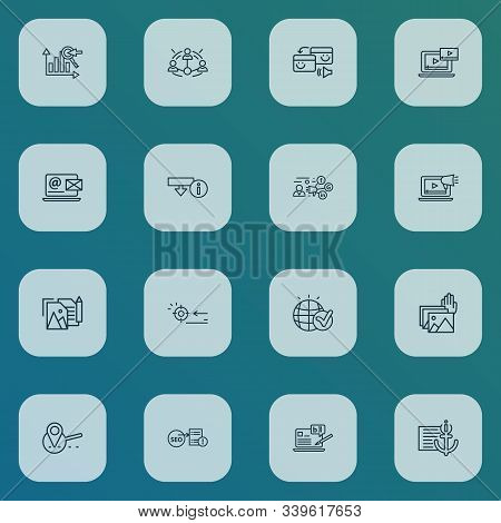 Optimization Icons Line Style Set With Video Content, Keyword Ranking, Blogging And Other Globe Elem