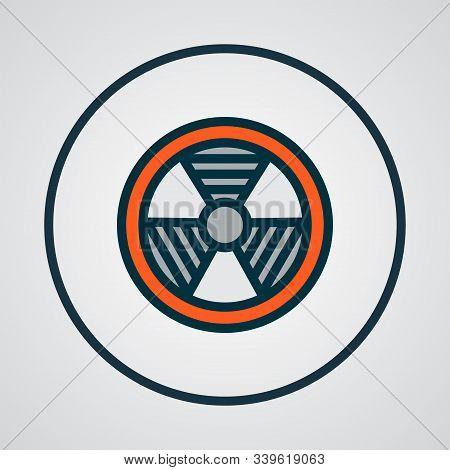 Bio Hazard Icon Colored Line Symbol. Premium Quality Isolated Radioactive Element In Trendy Style.