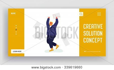 Happy Manager Employee Celebrate Website Landing Page. Happy Businessman Throw Out Pile Of Office Pa
