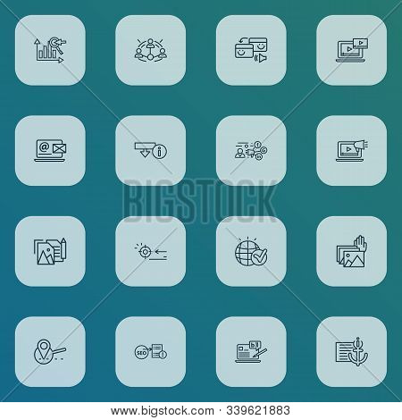 Engine Icons Line Style Set With Video Content, Keyword Ranking, Blogging And Other Globe Elements.