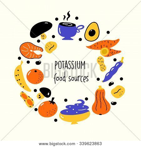 Flat Vector Illustration Of Potassium Rich Foods. Green Vegetables. Round Composition.