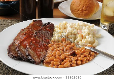 Sliced Beef Brisket With Boston Baked Beans
