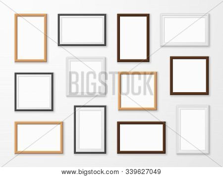 Realistic Image Frames. Picture Frame In Different Colors, Hanging Blank Pictures On Gallery Wall Of