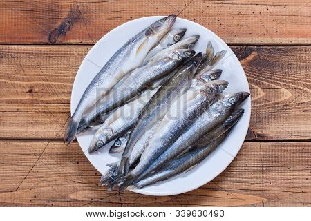Step-by-step Preparation Of Fried Smelt In A Pan, Step 2 - Preparation Of Raw Smelt Fish, Top View,