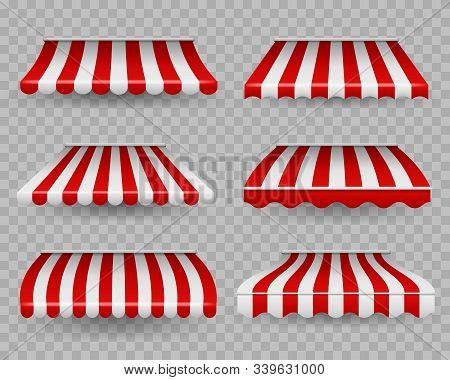 Awnings. Outdoor Striped Awning For Cafe And Shop Windows Of Different Forms, Sunshade For Restauran