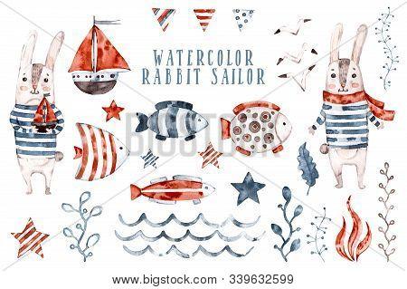 Watercolor Rabbit Nursery Sailor, Cartoon Seaman Animal Set. Hand Painted Cute Childish Character Co