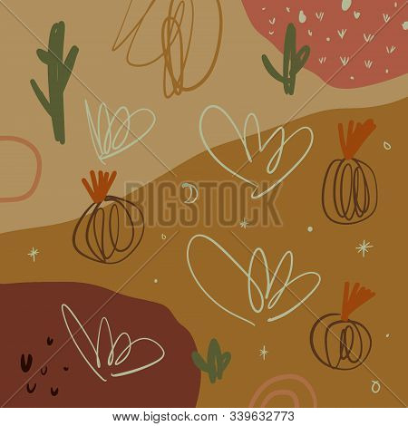 Abstract Aesthetic Spring Or Summer Cacti Pattern With Abstract Shapes At Sand Color Background. Wal