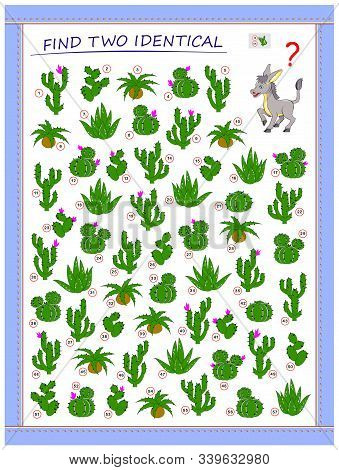 Help The Donkey Find 2 Identical Cactus. Logic Puzzle Game For Children And Adults. Printable Page F