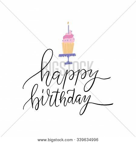 Elegant Cupcake Happy Birthday Greeting Print. Pink Muffin Happy Birthday Greeting Card. Vector Flat