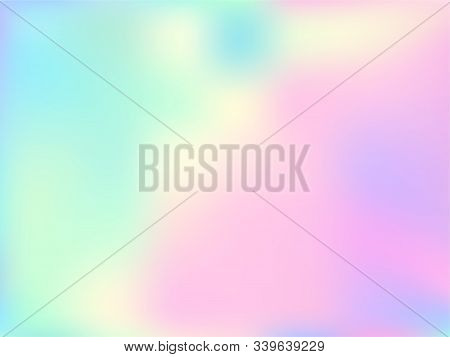 Hologram Effect Glitch Gradient Vector Design. Fluorescent Pastel Rainbow Unicorn Background. Hologr
