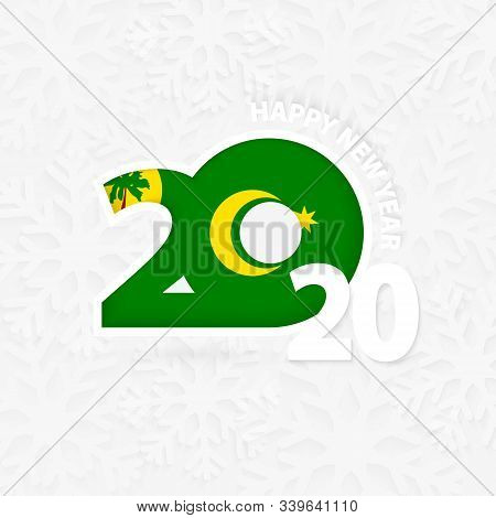 Happy New Year 2020 With Flag Of Cocos Islands On Snowflake Background. Greeting Cocos Islands With