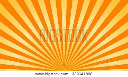 Orange Yellow Background Superhero. Super Hero Cartoon Gradient Texture. Sun Rays Burst. Radiate Sun