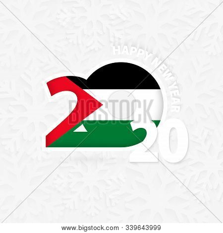 Happy New Year 2020 With Flag Of Palestine On Snowflake Background. Greeting Palestine With New 2020
