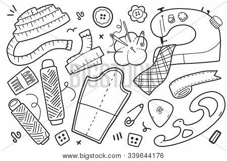 Sewing Cliparts, Collection Of Crafts And Needlework Vector Isolated Illustrations, Supplies And Tol