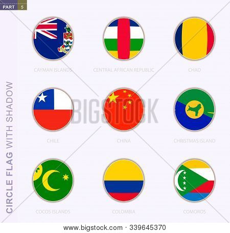 Circle Flag With Shadow, Collection Of Nine Round Flag. Vector Flags Of 9 Countries: Cayman Islands,