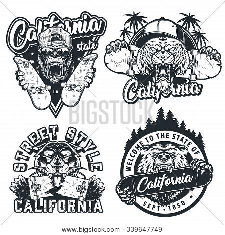 Vintage Skateboarding Monochrome Labels With Angry Gorilla And Tiger In Baseball Caps Ferocious Pant
