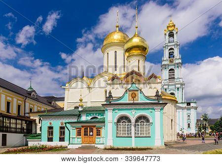 Sergiev Posad, Russia - June 10, 2019: Sightseeing Of Russia. The Holy Trinity - St. Sergius Lavra I