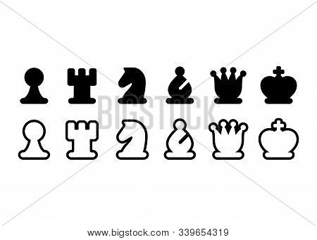 Chess Pieces Icon Set, Black And White Chess Figures. Simple Stylized Symbols, Isolated Vector Illus