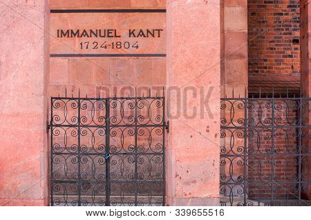 Grave Grave Of Kant In The Cathedral, The Grave Of The German Philosopher And Writer Immanuel Kant,