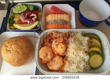 Seafood Meal For Lunch On Economy Cabin Of Passenger Airplane.
