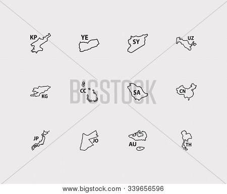 Asian Map Icons Set. China And Asian Map Icons With Jordan, Cocos Islands, Syria. Set Of Atlas For W