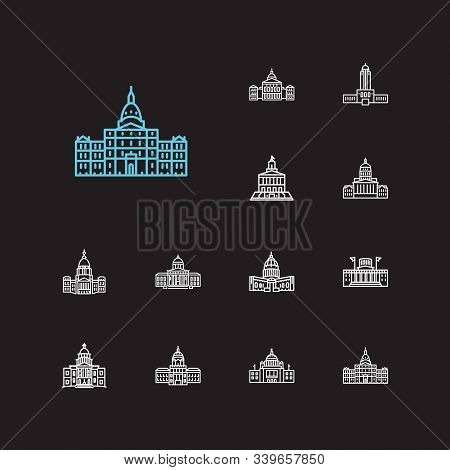 Landmark Icons Set. Georgia State Capitol And Landmark Icons With Downtown, Congress And Montana Sta