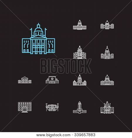 Building Icons Set. Alaska State Capitol And Building Icons With Downtown, Courthouse And Congress.