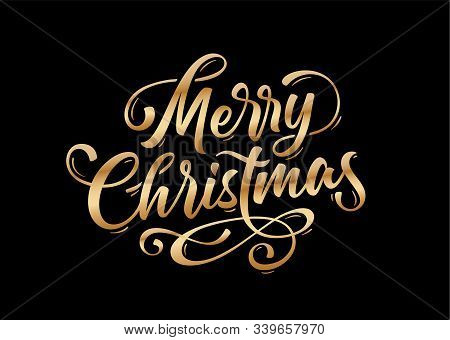 Merry Christmas. Lettering Text For Merry Christmas. Greeting Card, Poster, Banner With Script Text